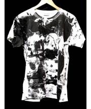 SAINT LAURENT PARIS(サンローラン パリ)の古着「コラボプリントカットソー Tシャツ」|ブラック×ホワイト