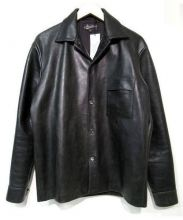 ATTRACTIONS(アトラクションズ)の古着「レザーロングスリーブシャツ」|ブラック