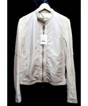 ESTNATION(エストネーション)の古着「レザー異素材ライダースジャケット」|ベージュ