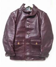 SIMMONS BILT(シモンズビルト)の古着「クロムエクセルステアハイドレザージャケット」|ブラウン