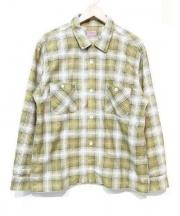 TENDERLOIN(テンダーロイン)の古着「ネルシャツ」|ベージュ×グリーン