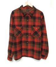 TENDERLOIN(テンダーロイン)の古着「オープンカラーウールシャツ」|レッド×ブラウン