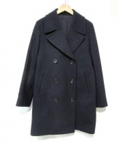 MARGARET HOWELL(マーガレット ハウエル)の古着「ダブルウールロングコート」|ネイビー