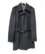 HAMAKI-HO(ハマキホ)の古着「ダブルウールトレンチコート」|ブラック