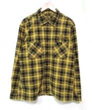 TENDERLOIN(テンダーロイン)の古着「チェーン刺繍ボックスフランネルチェックシャツ」|イエロー