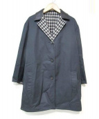 BALENCIAGA(バレンシアガ)の古着「襟レザーリバーシブルコート」 ネイビー
