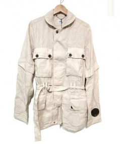 C.P COMPANY(シーピーカンパニー)の古着「リネンナイロンミリタリージャケット」|ベージュ