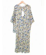 mina perhonen(ミナペルフォネン)の古着「flowerscopeカットソードレスワンピース」 ベージュ×グリーン