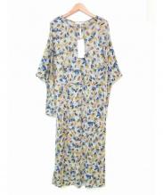 mina perhonen(ミナペルフォネン)の古着「flowerscopeカットソードレスワンピース」|ベージュ×グリーン