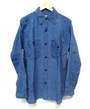 BLACK SIGN(ブラックサイン)の古着「リネンワークシャツ」 インディゴ