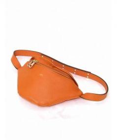 iTADAKi(イタダキ)の古着「ペインガーレザーウエストバッグ」|オレンジ