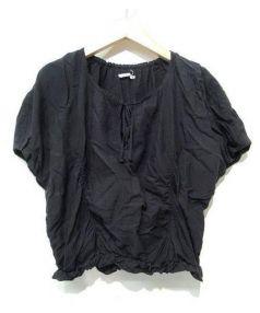 mina perhonen(ミナペルフォネン)の古着「蝶刺繍コットンレーヨンブラウス」|ブラック
