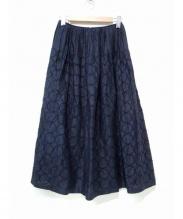 mina perhonen(ミナペルフォネン)の古着「tambourine刺繍スカート」|ネイビー