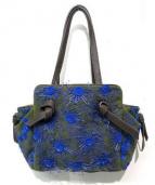 JAMIN PUECH(ジャマンピュエッシュ)の古着「ウールビーズ刺繍バッグ」|ブルー×グリーン