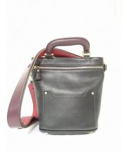 ANYA HINDMARCH(アニヤ ハインドマーチ)の古着「オルセットミニトップハンドルバッグ」|ブラック×ボルドー
