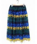 CHESTY(チェスティー)の古着「フラワーレーススカート」|ネイビー