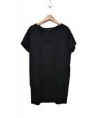 Drawer(ドゥロワ)の古着「切替デザイン半袖Vネックワンピース」|ブラック