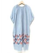 mina perhonen(ミナペルホネン)の古着「twitter刺繍ワンピース」|ブルー