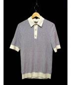 JPBLUM(ジェイピーブルーム)の古着「ニットポロシャツ」|ホワイト×ブルー