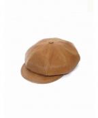 BLACK SIGN(ブラックサイン)の古着「オイルドホースハイドキャスケット 帽子」|ブラウン