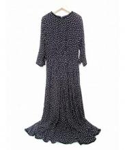 SINME(シンメ)の古着「ロングドットワンピース」|ブラック×ホワイト
