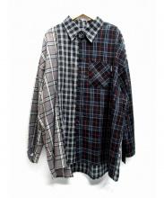 AJOBYA(アジョバイアジョ)の古着「切替BIGシャツ」 ネイビー