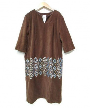 mina perhonen(ミナペルフォネン)の古着「flower diamondコットンワンピース」|ブラウン