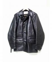 AERO LEATHER(エアロレザー)の古着「ステアハイドダブルブレストレザーコート」|ブラック