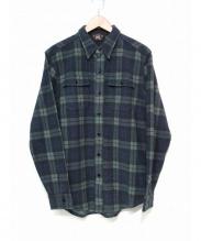RRL(ダブルアールエル)の古着「プラッドプリントニットワークシャツ」|グリーン×ネイビー