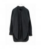 MASTER&CO.(マスターアンドコー)の古着「リネン混スタンドカラーシャツ」|ブラック