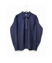 COMOLI(コモリ)の古着「フラノZIPシャツ」|ネイビー