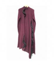 Lautashi(ラウタシー)の古着「アシメフリルデザインドレス」|ボルドー