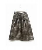 TIARA(ティアラ)の古着「ドットジャガードスカート」|ブラウン×ゴールド