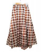 GRACE CONTINENTAL(グレースコンチネンタル)の古着「チェックフレアスカート」|ベージュ