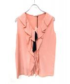 MIU MIU(ミュウミュウ)の古着「ノースリーブシルクフリルブラウス」 ピンク