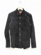 RUDE GALLERY BLACK REBEL(ルードギャラリーブラックレーベル)の古着「ピッグスキンスエードシャツ」 ブラック