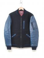 BLUE BLUE(ブルーブルー)の古着「ホースハイド切替MA-1ジャケット」|インディゴネイビー