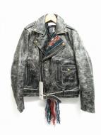 FACETASM(ファセッタズム)の古着「ニットフリンジレザーライダースジャケット」
