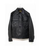 COOTIE(クーティー)の古着「レザートラッカージャケット」 ブラック