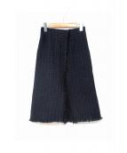 BACCA(バッカ)の古着「ファンシーツイードトラペーズスカート」|ネイビー