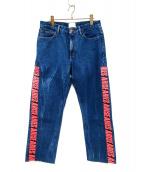 ARIES(アリーズ)の古着「サイドロゴテープデニムパンツ」 ブルー