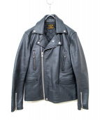 COOTIE(クーティー)の古着「3rd St Leather Jacket」 ネイビー