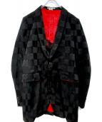COMME des GARCONS HOMME PLUS(コムデギャルソンオムプリュス)の古着「チェッカーフラッグテーラードジャケット」|ブラック