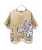 ETRO(エトロ)の古着「デザインリネン混半袖カットソー」|ベージュ