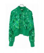 Olympia Le-Tan(オリンピア ル タン)の古着「スウェットカーディガン」|黄緑