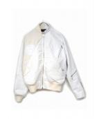 ANREALAGE(アンリアエイジ)の古着「レザー切替ブルゾン」|ホワイト