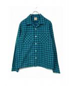 BELAFONTE(ベラフォンテ)の古着「オープンカラーシャツ」|ブルー×グリーン