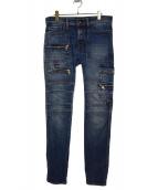 DIESEL BLACK GOLD(ディーゼルブラックゴールド)の古着「デザインデニムパンツ」|ブルー