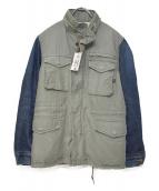 ALPHA×LEE(アルファ×リー)の古着「裏ボアデニム切替ミリタリージャケット」|カーキ×インディゴ