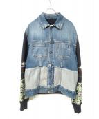 Maison Margiela(メゾンマルジェラ)の古着「Combi Denim Jacket」|グレー×インディゴ